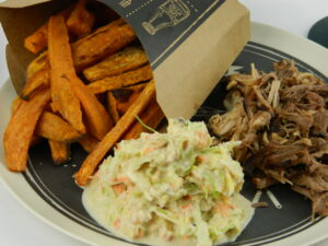 Pulled Pork with Sweet Potato Fries and Hot Coleslaw