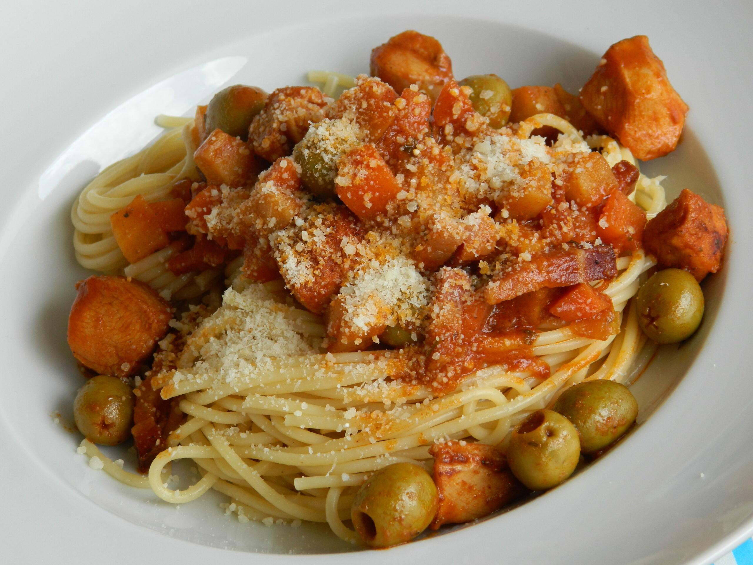 rabbit ragu spaghetti