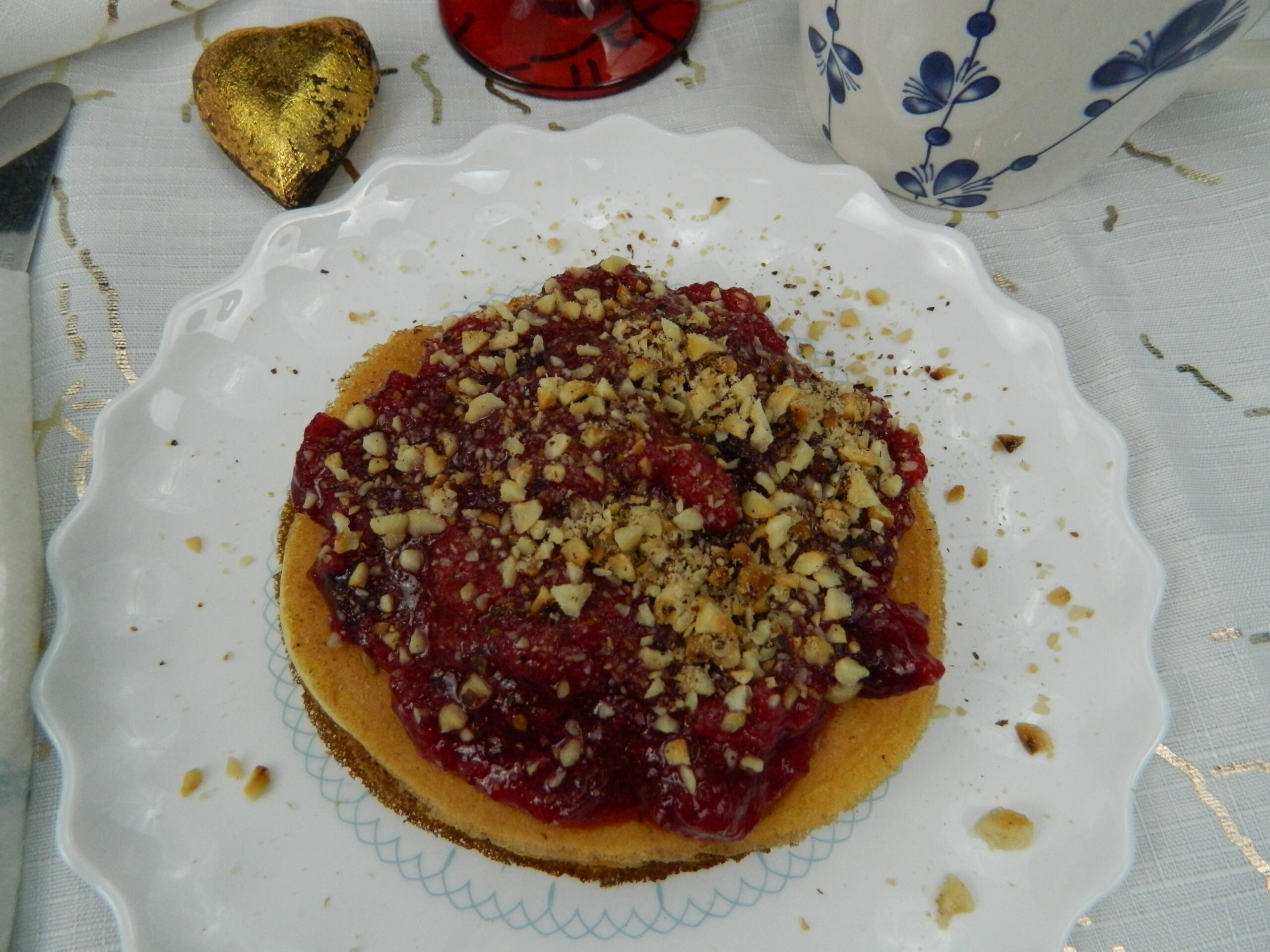 Smooth Ricotta Pancakes with Red Berries and Homemade Peanut Butter